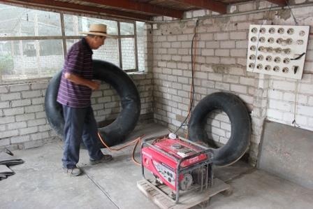 biogas siphoned into inner tubes sm